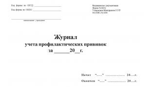Журнал учета профилактических прививок форма 064/у