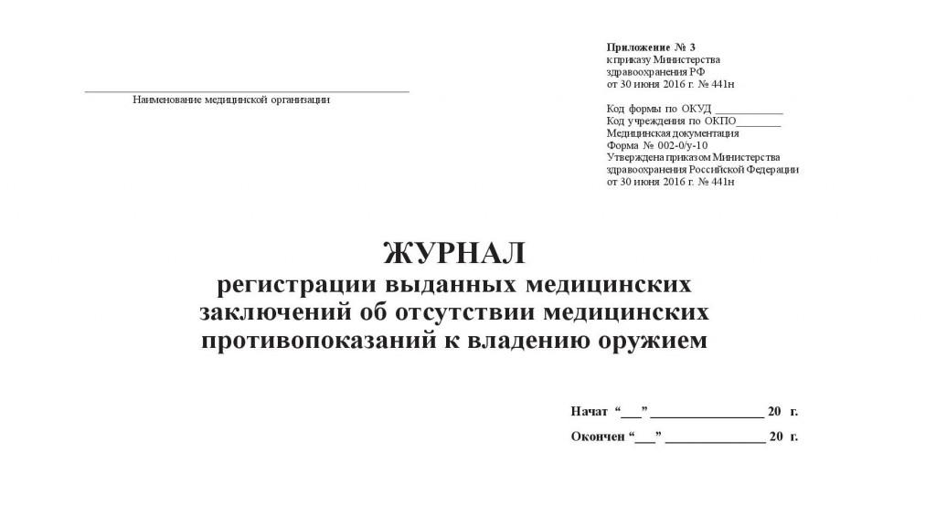 Журнал регистрации выданных медицинских заключений об отсутствии медицинских противопоказаний к владению оружием