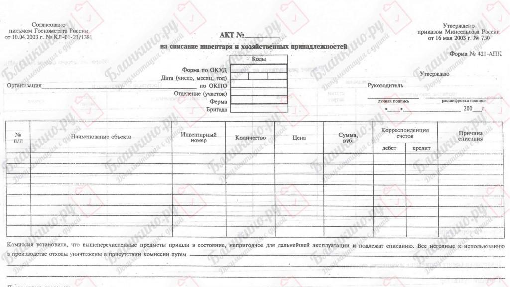421-АПК. Акт на списание инвентаря и хозяйственных принадлежностей