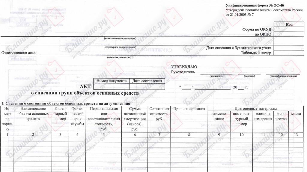 ОС-4б. Акт о списании групп объектов основных средств (кроме автотранспортных средств)